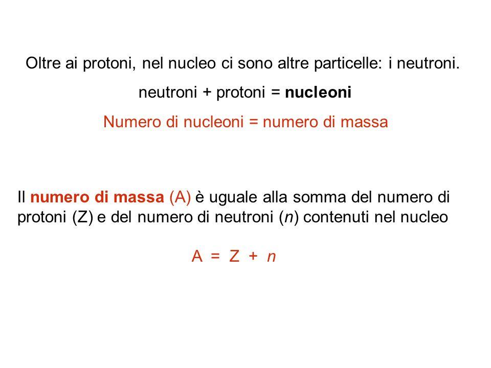 Oltre ai protoni, nel nucleo ci sono altre particelle: i neutroni.