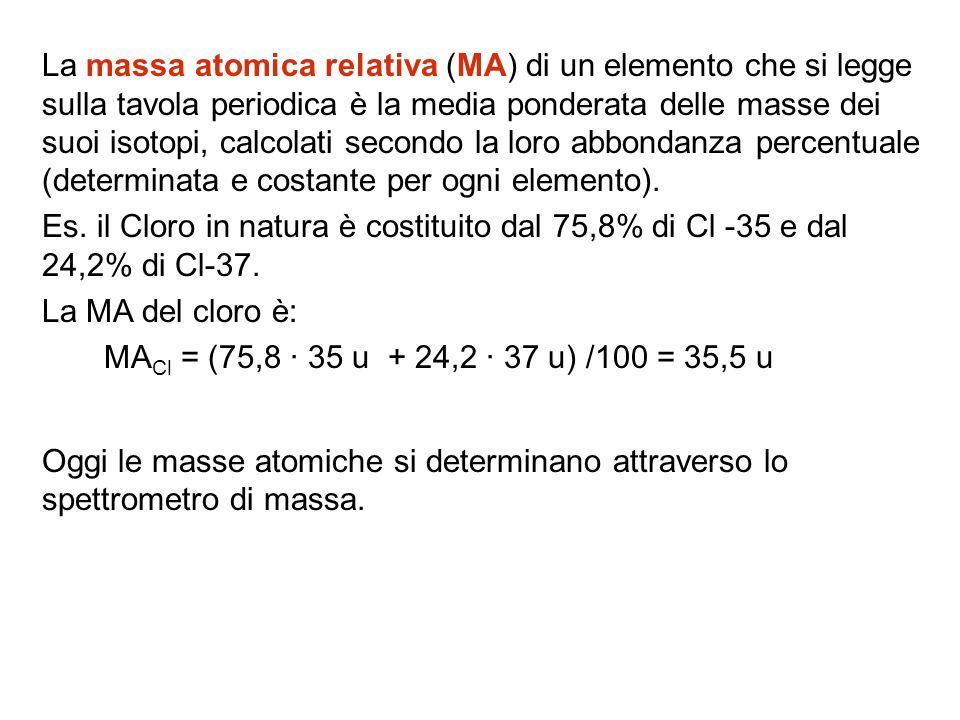 La massa atomica relativa (MA) di un elemento che si legge sulla tavola periodica è la media ponderata delle masse dei suoi isotopi, calcolati secondo la loro abbondanza percentuale (determinata e costante per ogni elemento).