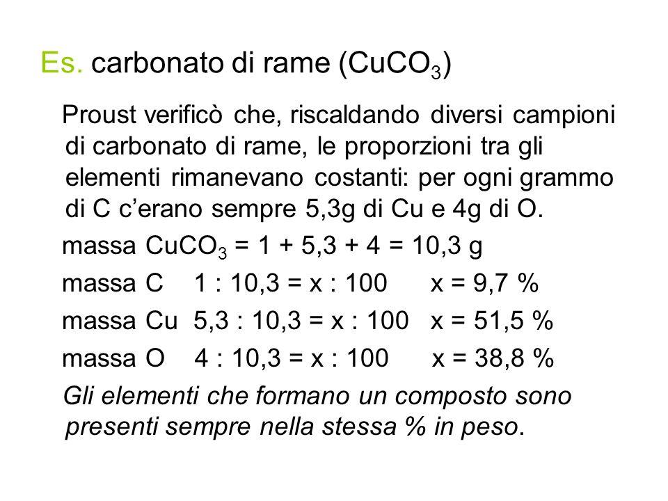 Es. carbonato di rame (CuCO3)