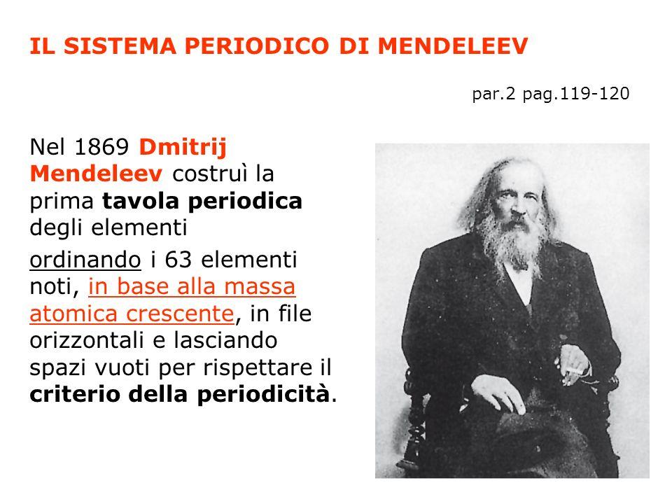 IL SISTEMA PERIODICO DI MENDELEEV par.2 pag.119-120