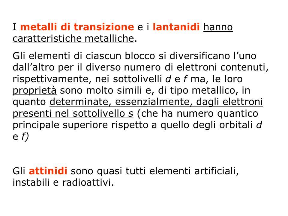 I metalli di transizione e i lantanidi hanno caratteristiche metalliche.