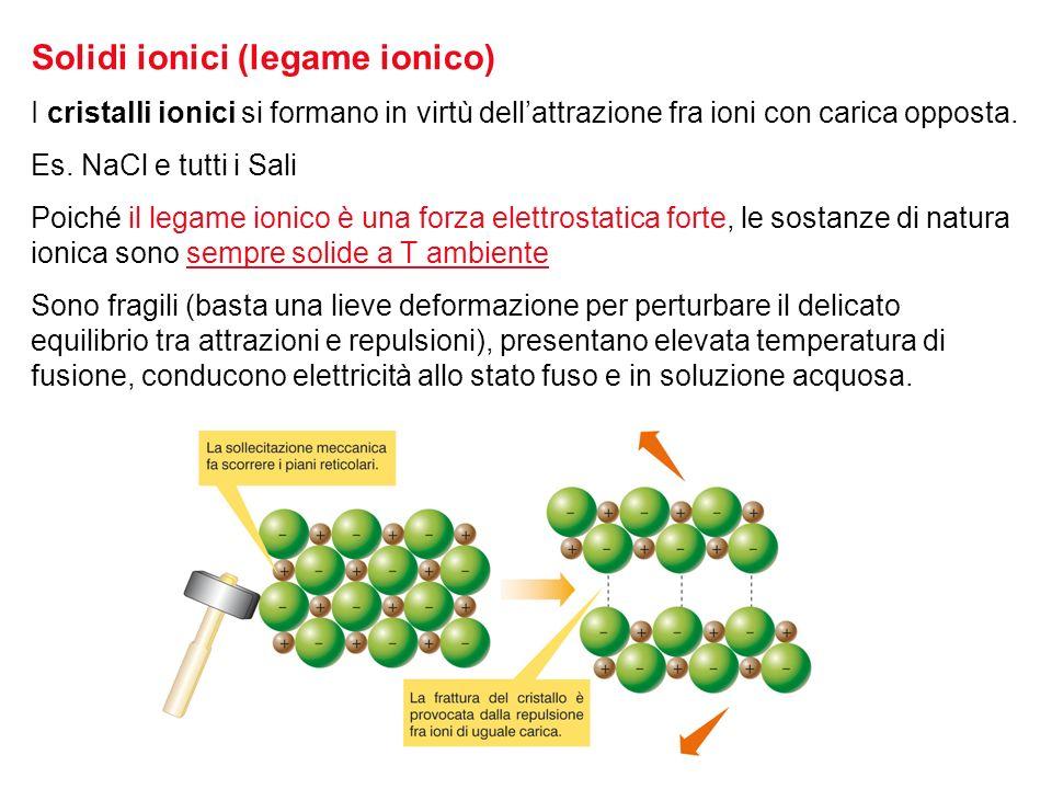 Solidi ionici (legame ionico)