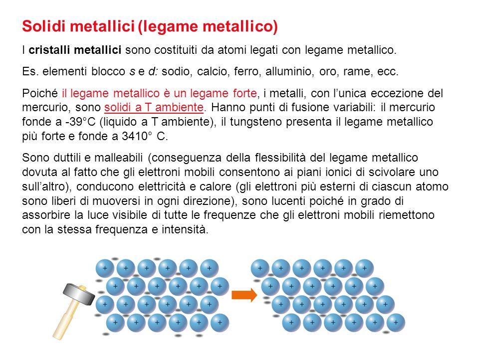 Solidi metallici (legame metallico)