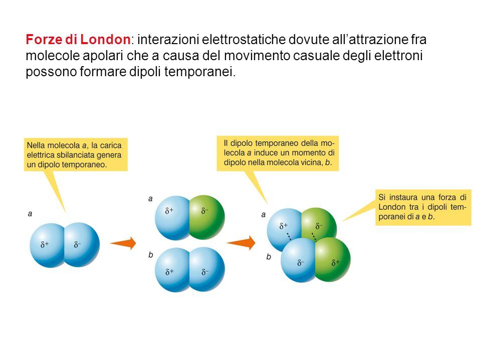Forze di London: interazioni elettrostatiche dovute all'attrazione fra molecole apolari che a causa del movimento casuale degli elettroni possono formare dipoli temporanei.