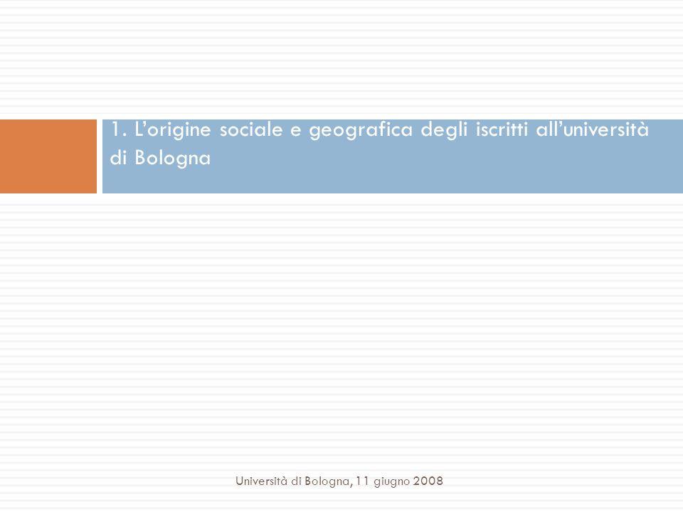 1. L'origine sociale e geografica degli iscritti all'università di Bologna
