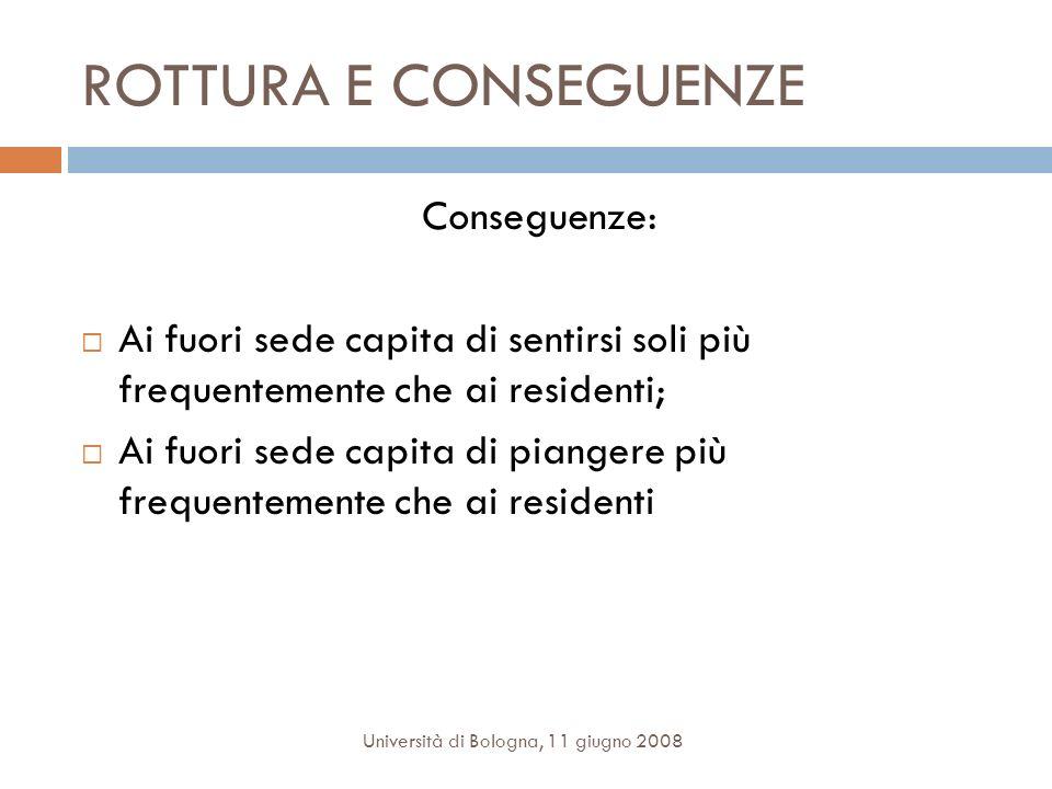 ROTTURA E CONSEGUENZE Conseguenze: