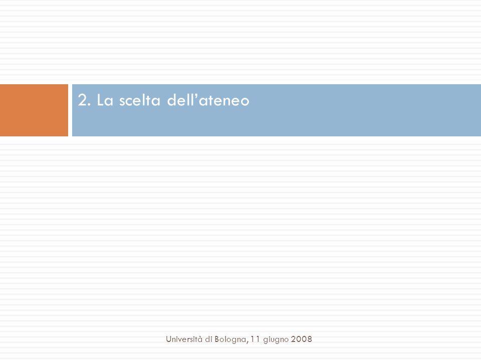 2. La scelta dell'ateneo Università di Bologna, 11 giugno 2008