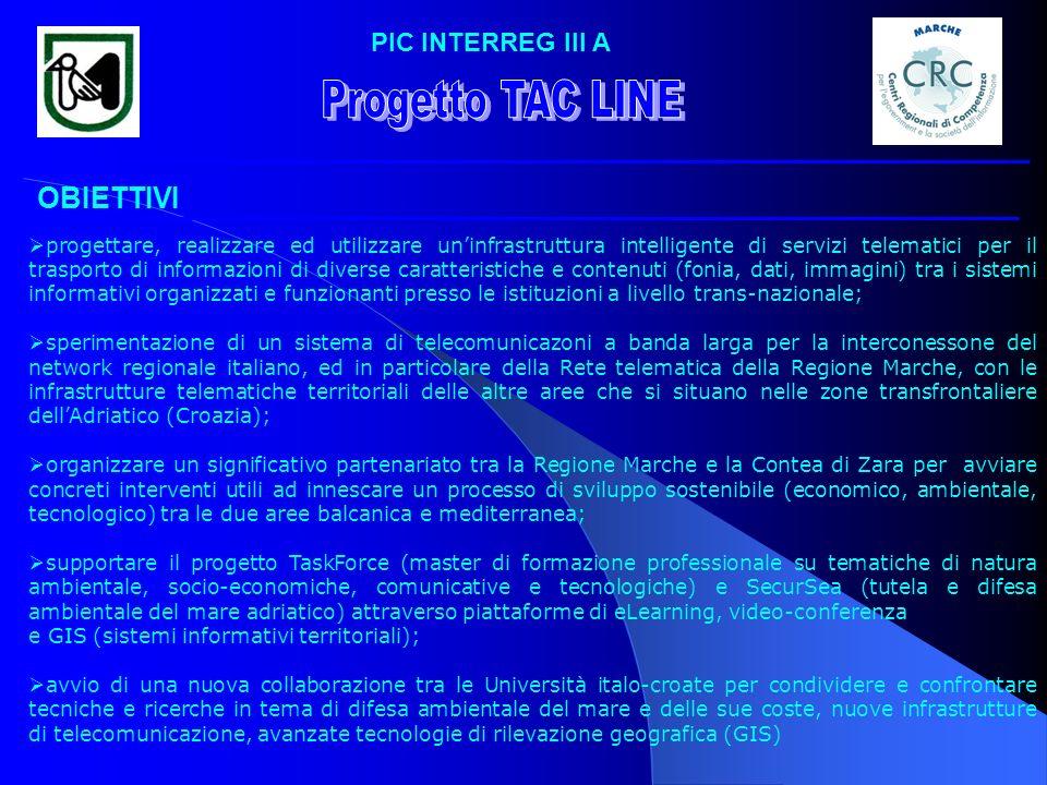 Progetto TAC LINE OBIETTIVI PIC INTERREG III A