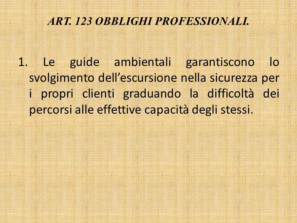 Art. 123 Obblighi professionali.