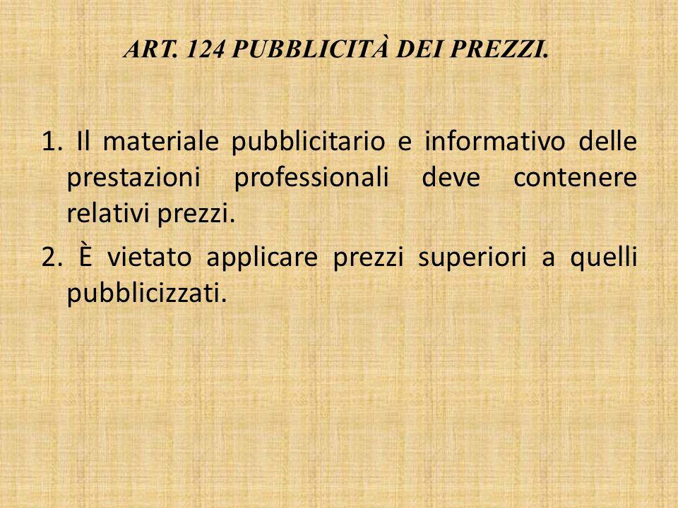 Art. 124 Pubblicità dei prezzi.