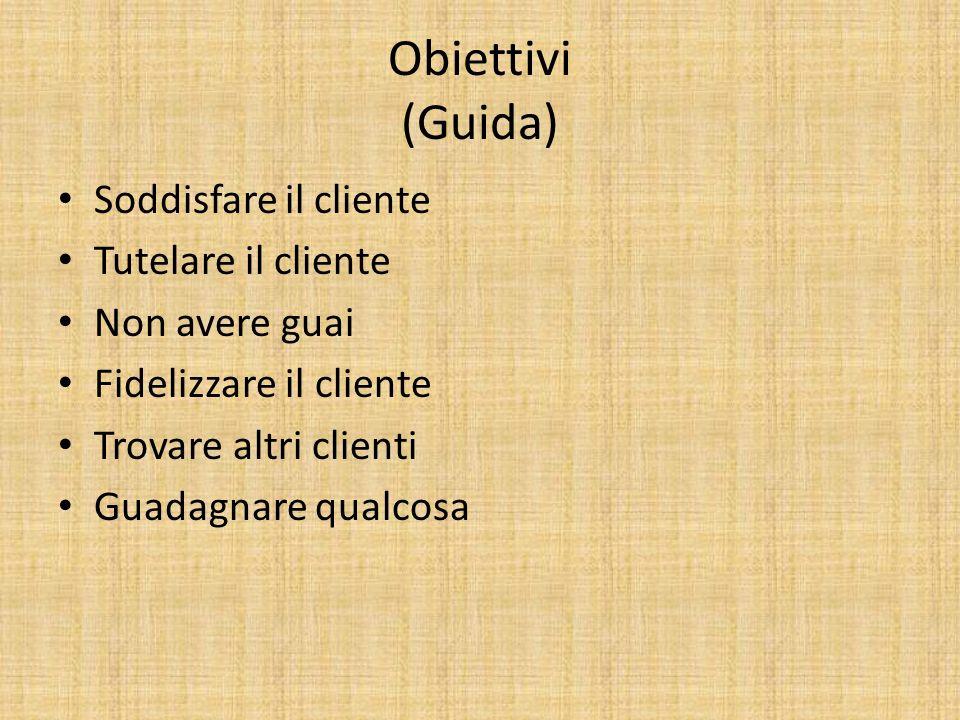 Obiettivi (Guida) Soddisfare il cliente Tutelare il cliente