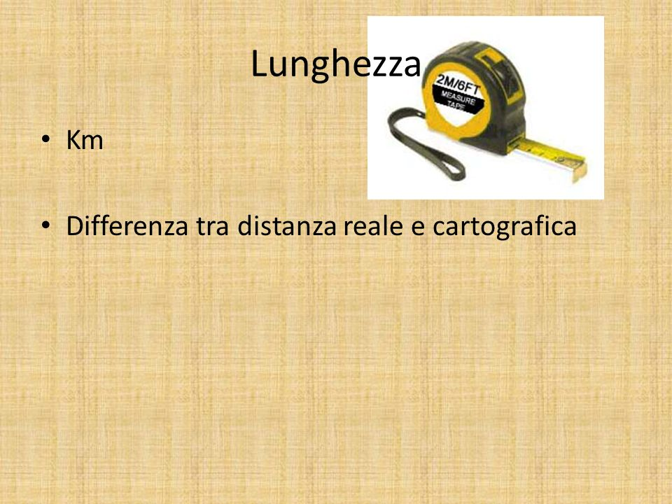 Lunghezza Km Differenza tra distanza reale e cartografica