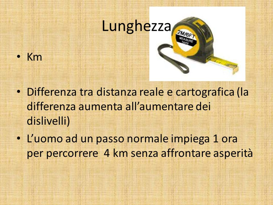 Lunghezza Km. Differenza tra distanza reale e cartografica (la differenza aumenta all'aumentare dei dislivelli)