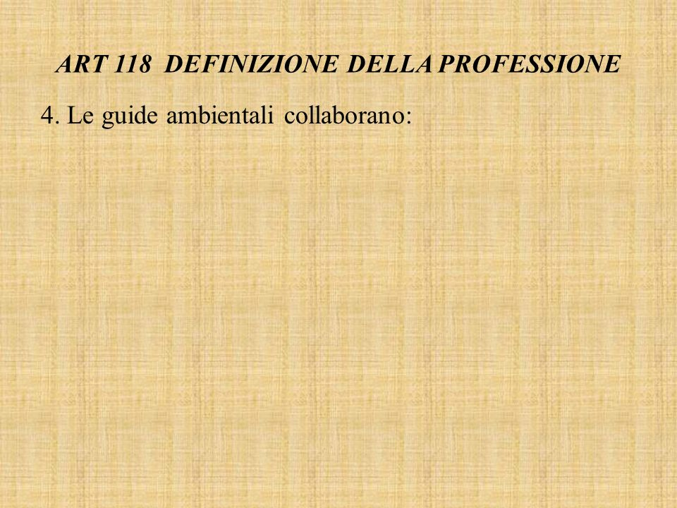 ART 118 DEFINIZIONE DELLA PROFESSIONE
