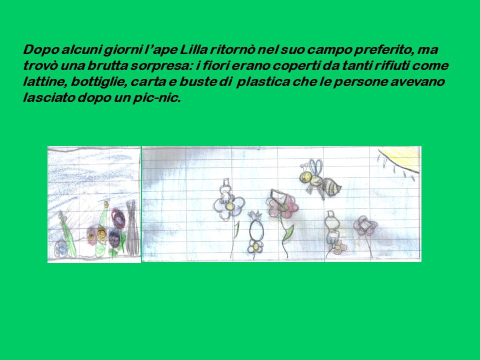 Dopo alcuni giorni l'ape Lilla ritornò nel suo campo preferito, ma trovò una brutta sorpresa: i fiori erano coperti da tanti rifiuti come lattine, bottiglie, carta e buste di plastica che le persone avevano lasciato dopo un pic-nic.