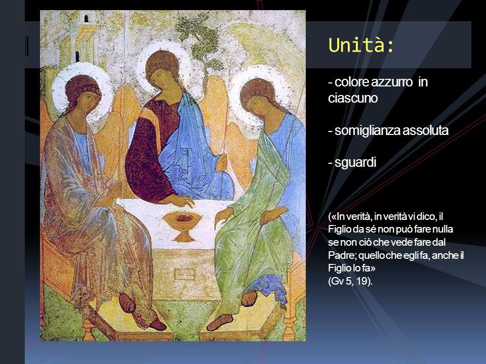 Unità: - colore azzurro in ciascuno - somiglianza assoluta - sguardi («In verità, in verità vi dico, il Figlio da sé non può fare nulla se non ciò che vede fare dal Padre; quello che egli fa, anche il Figlio lo fa» (Gv 5, 19).
