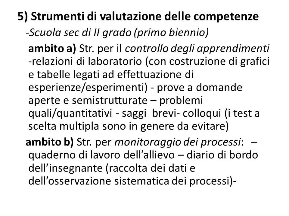 5) Strumenti di valutazione delle competenze