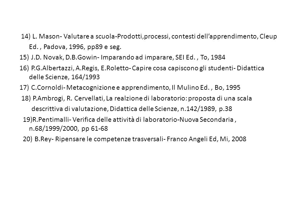 14) L. Mason- Valutare a scuola-Prodotti,processi, contesti dell'apprendimento, Cleup Ed. , Padova, 1996, pp89 e seg.