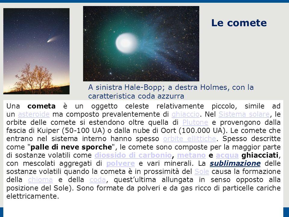 Le comete A sinistra Hale-Bopp; a destra Holmes, con la caratteristica coda azzurra.