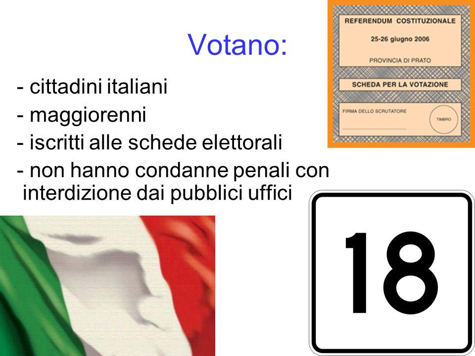 Votano: - cittadini italiani - maggiorenni