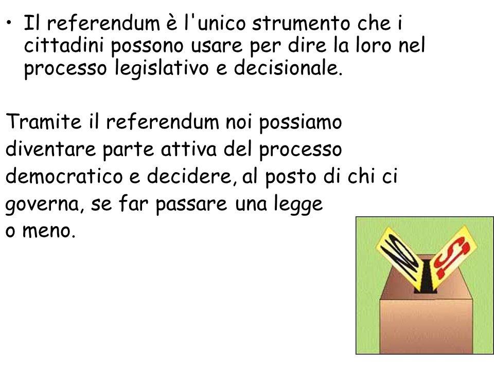 Il referendum è l unico strumento che i cittadini possono usare per dire la loro nel processo legislativo e decisionale.