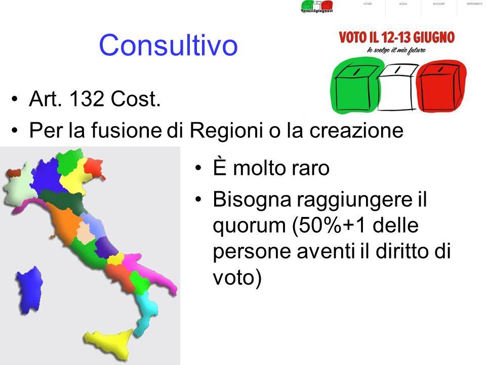 Consultivo Art. 132 Cost. Per la fusione di Regioni o la creazione di altre. È molto raro.