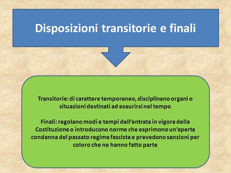 Disposizioni transitorie e finali