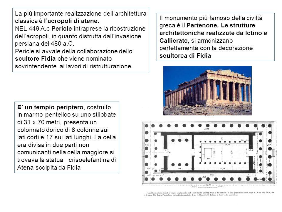 La più importante realizzazione dell'architettura classica è l'acropoli di atene.