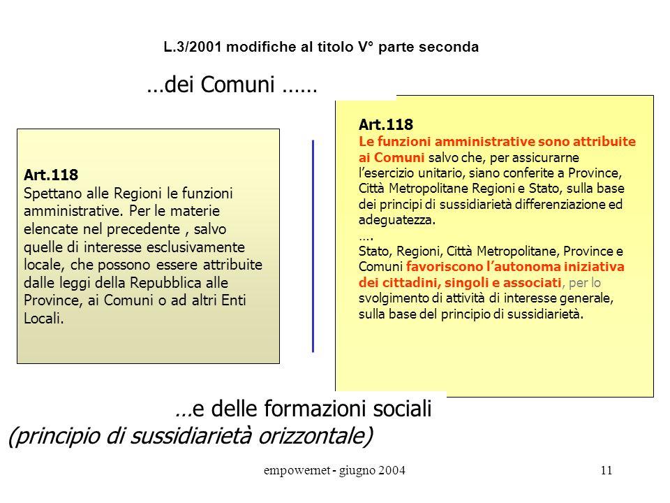 …e delle formazioni sociali (principio di sussidiarietà orizzontale)