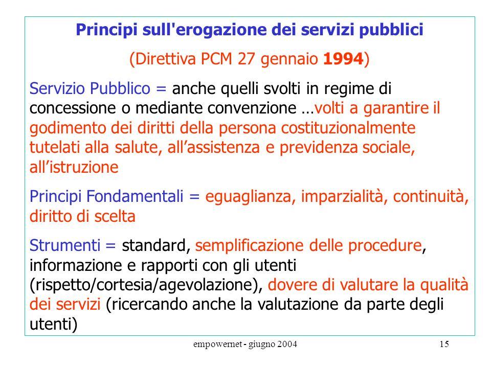 Principi sull erogazione dei servizi pubblici