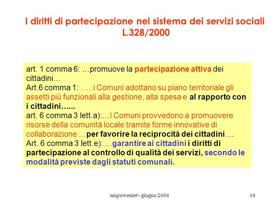 I diritti di partecipazione nel sistema dei servizi sociali