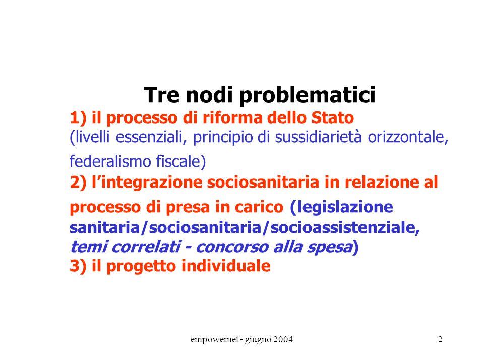 Tre nodi problematici 1) il processo di riforma dello Stato