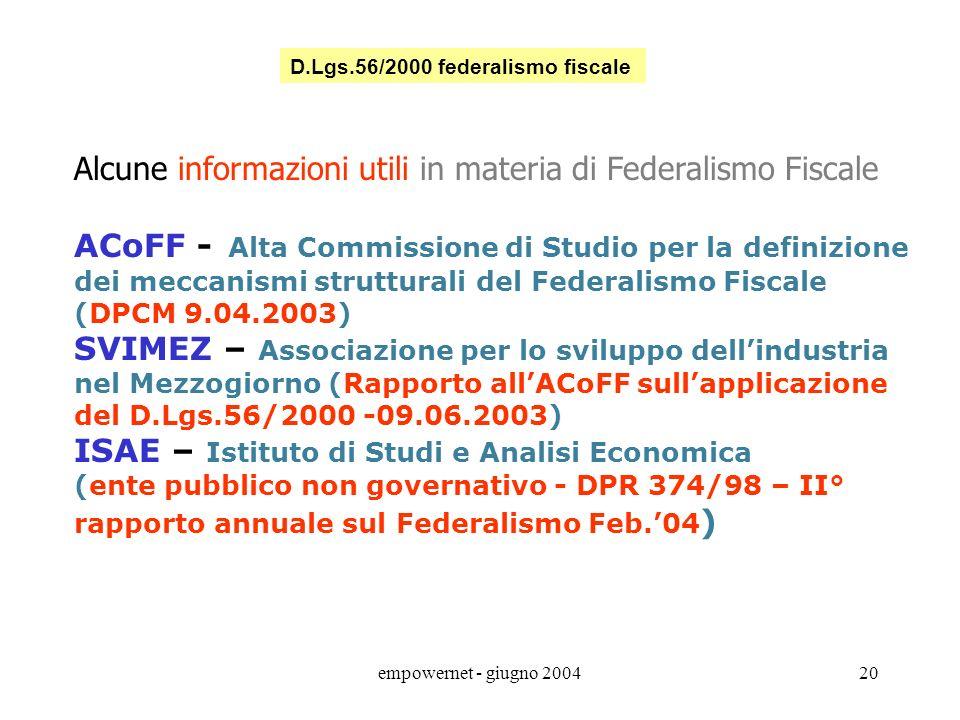 Alcune informazioni utili in materia di Federalismo Fiscale