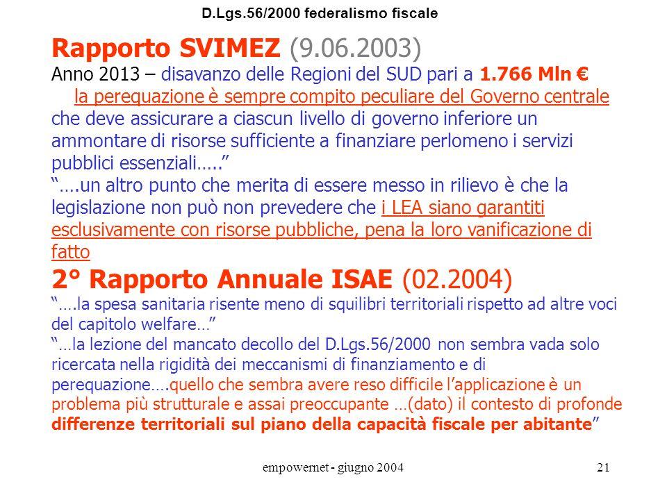 2° Rapporto Annuale ISAE (02.2004)