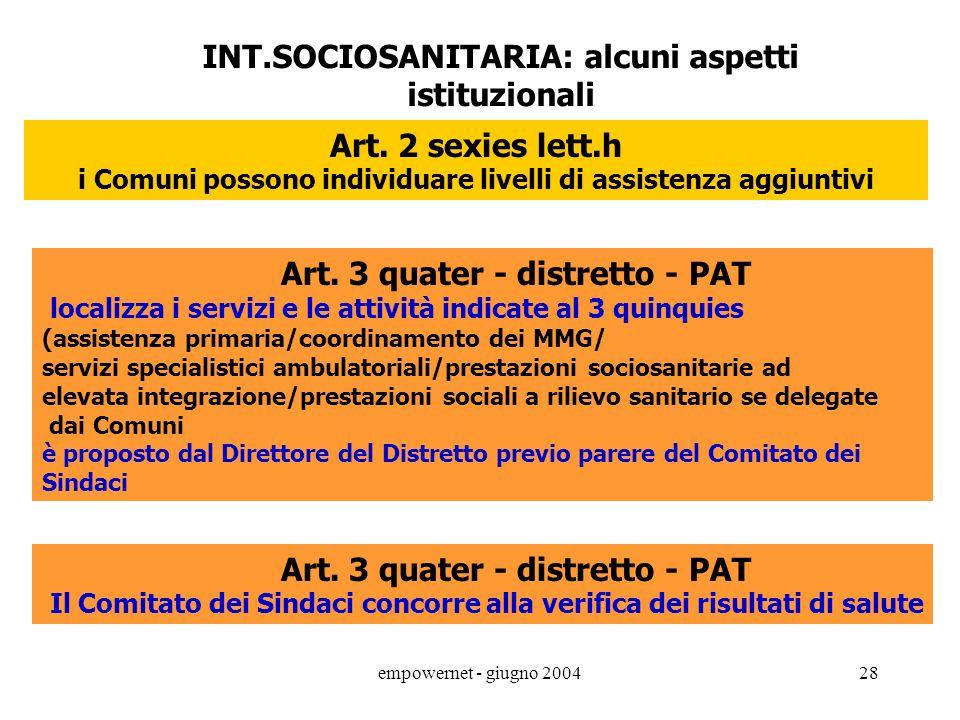 INT.SOCIOSANITARIA: alcuni aspetti istituzionali Art. 2 sexies lett.h