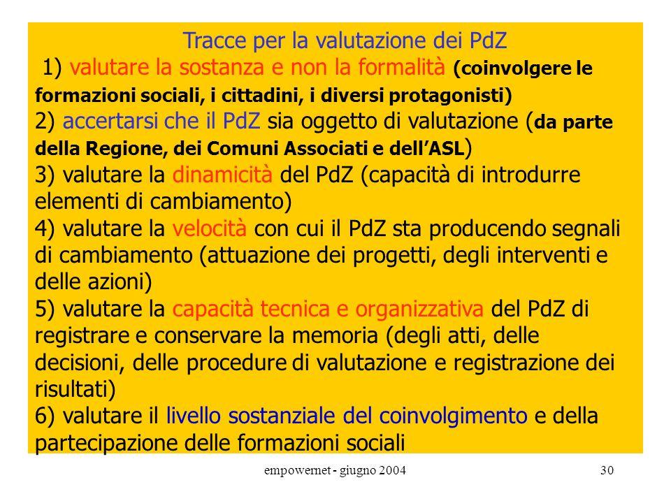 Tracce per la valutazione dei PdZ 1) valutare la sostanza e non la formalità (coinvolgere le formazioni sociali, i cittadini, i diversi protagonisti)