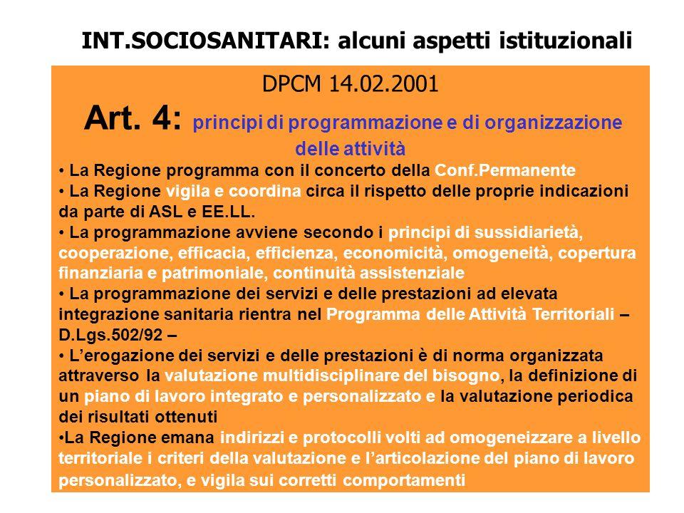 INT.SOCIOSANITARI: alcuni aspetti istituzionali
