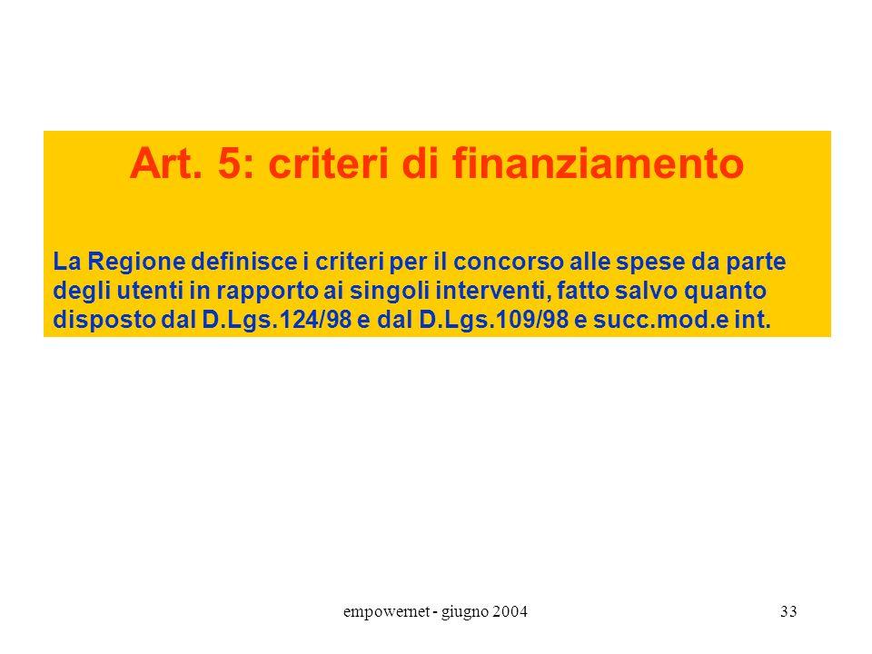 Art. 5: criteri di finanziamento