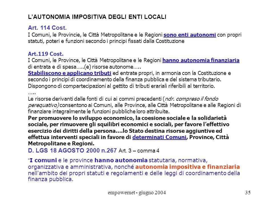 L'AUTONOMIA IMPOSITIVA DEGLI ENTI LOCALI Art. 114 Cost.