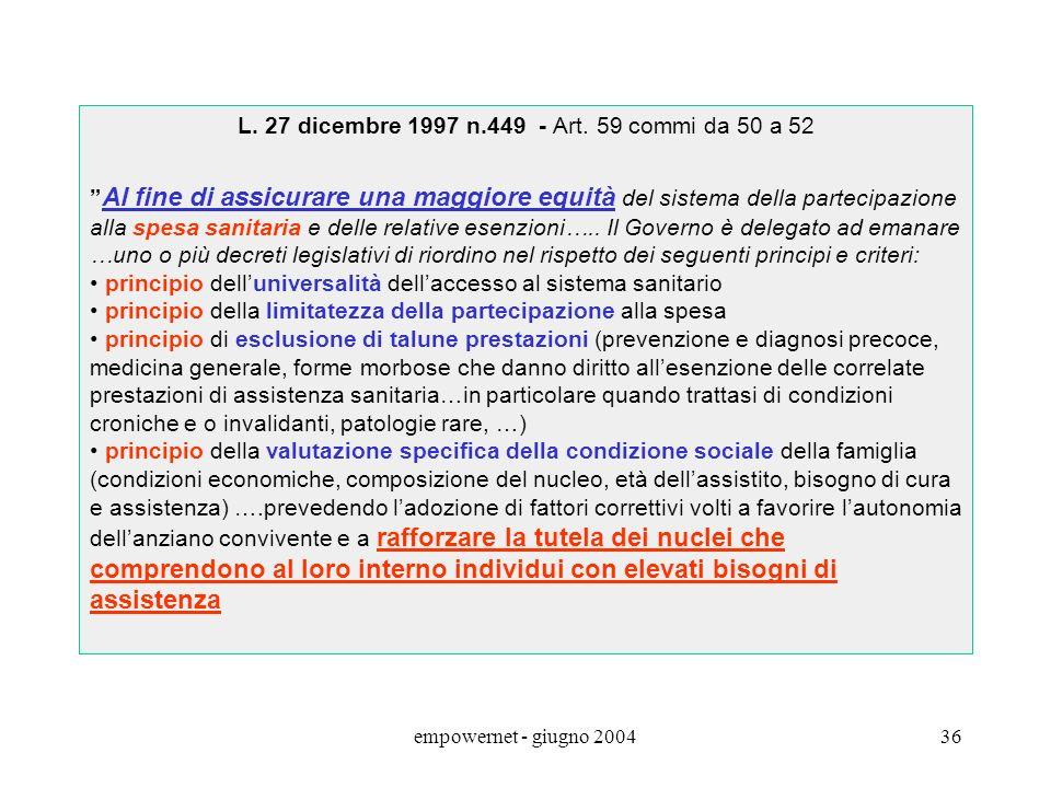 L. 27 dicembre 1997 n.449 - Art. 59 commi da 50 a 52
