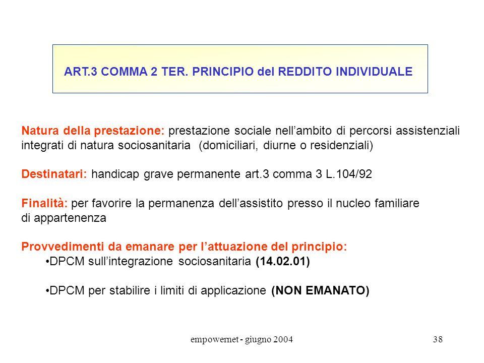 ART.3 COMMA 2 TER. PRINCIPIO del REDDITO INDIVIDUALE