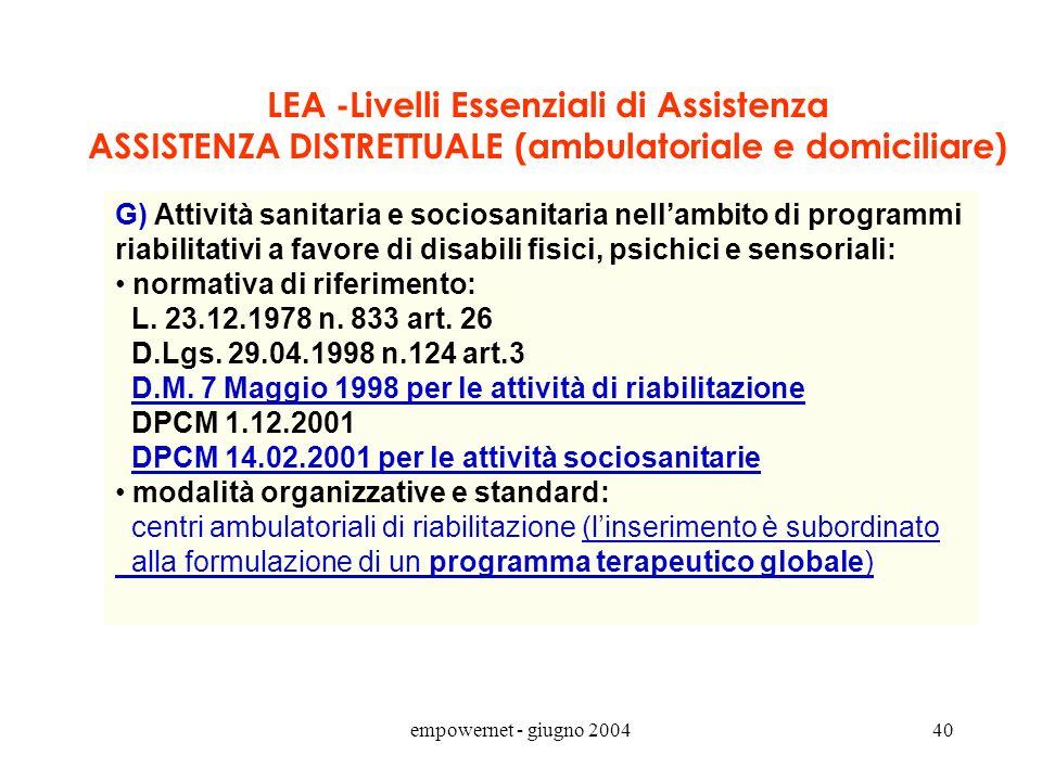 LEA -Livelli Essenziali di Assistenza