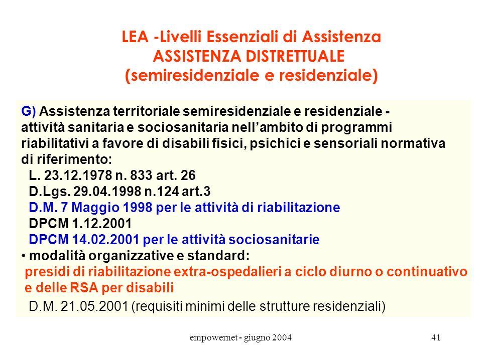 LEA -Livelli Essenziali di Assistenza ASSISTENZA DISTRETTUALE