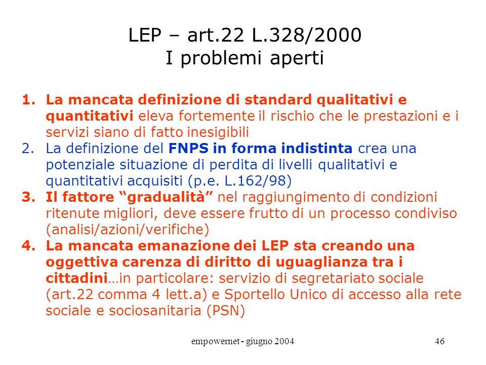 LEP – art.22 L.328/2000 I problemi aperti
