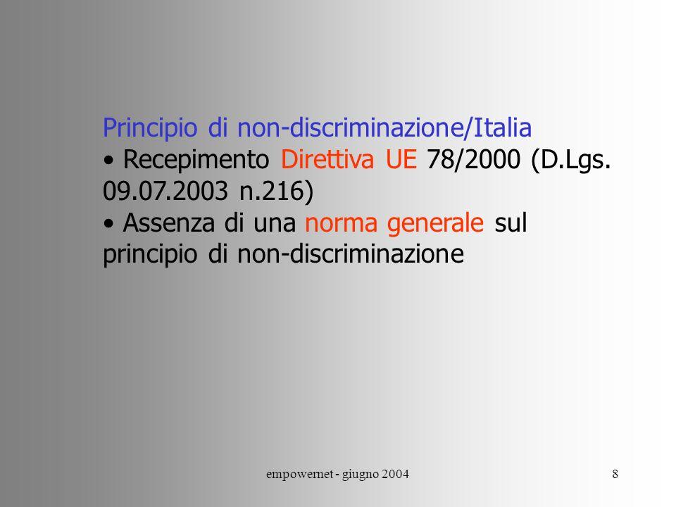 Principio di non-discriminazione/Italia