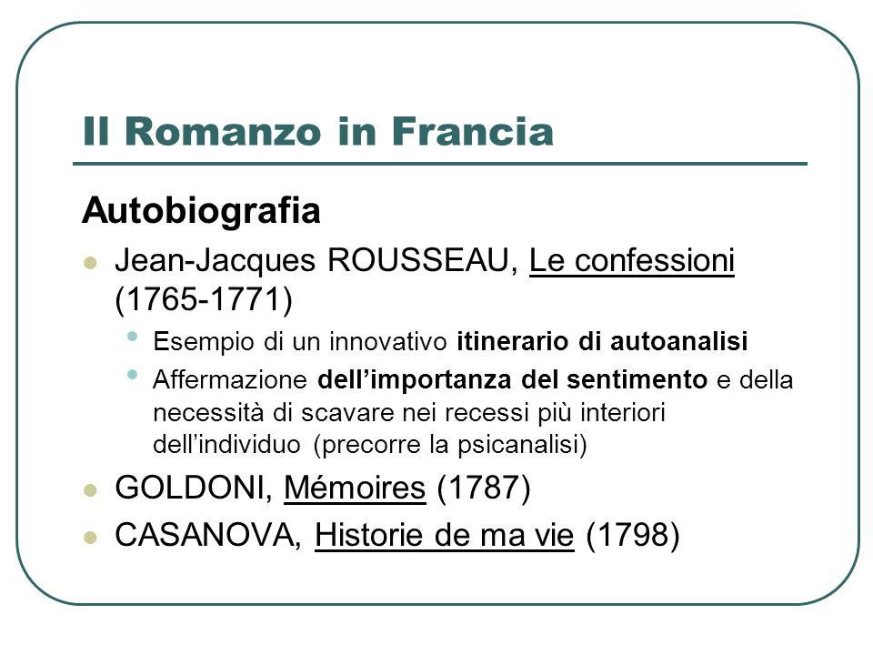 Il Romanzo in Francia Autobiografia