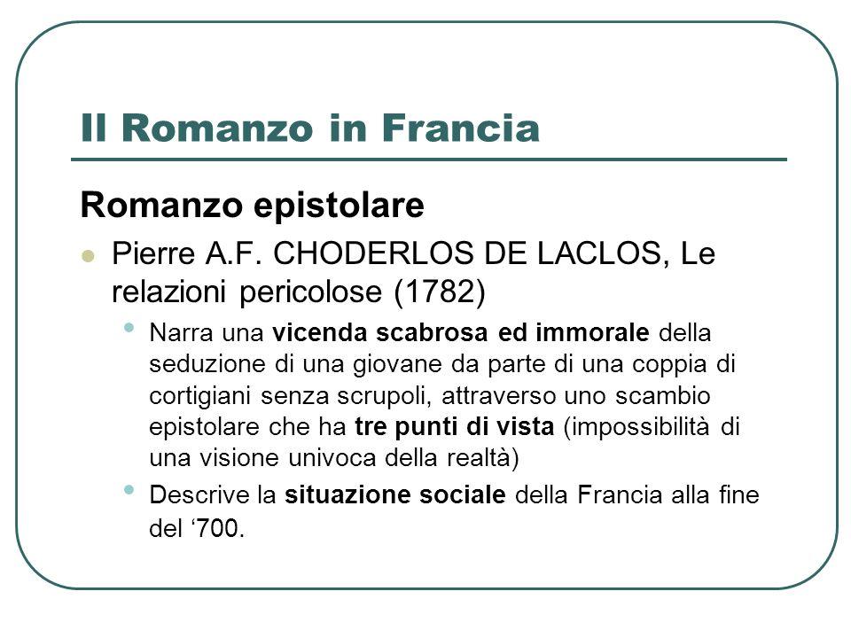 Il Romanzo in Francia Romanzo epistolare
