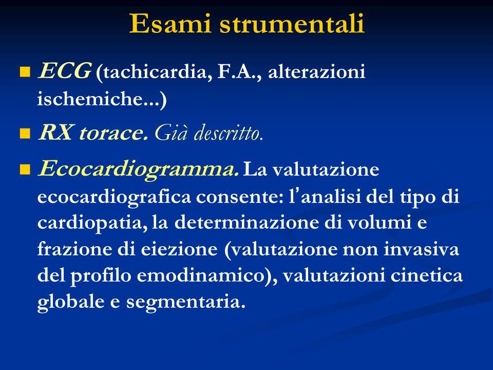 Esami strumentali ECG (tachicardia, F.A., alterazioni ischemiche...)