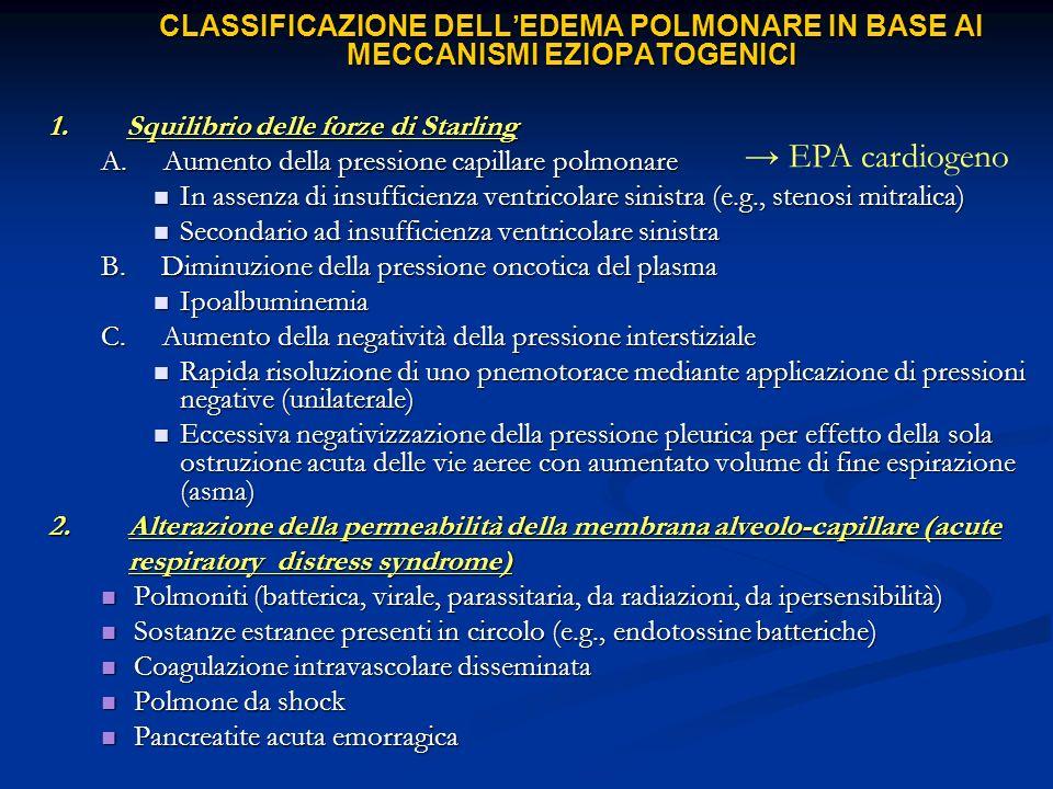 → EPA cardiogeno 1. Squilibrio delle forze di Starling