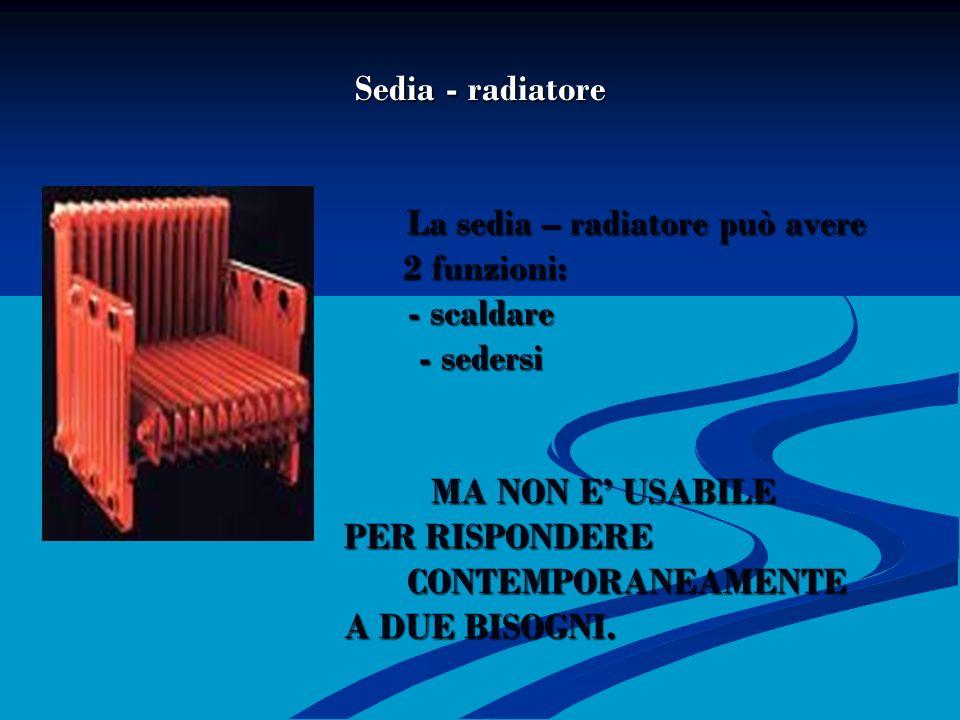 SEDIA – RADIATORE Sedia - radiatore La sedia – radiatore può avere 2 funzioni: - scaldare - sedersi MA NON E' USABILE PER RISPONDERE CONTEMPORANEAMENTE A DUE BISOGNI.